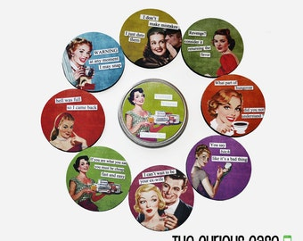 Drink Coaster Set Vintage Vixens Brazen Babes Kitschy Coasters 8 Coasters Drink Coaster Set in Gift Tin