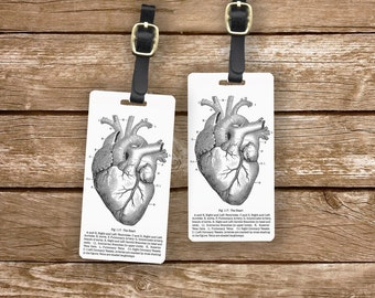 Personalized Luggage Tags Heart Medical Chart Luggage Tag Set Personalized Luggage Tags - Full Metal Tags