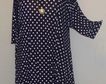 Plus Size Tunic, Coco and Juan, Plus Size Asymmetric Tunic Top Navy Blue and White Dots Traveler Knit Size 2 (fits 3X,4X)   Bust 60 inches