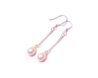 Peach Freshwater Pearl Earrings , Sterling Silver  Pearl Dangle Earrings ,  Gift For Her , 9MM Pearls