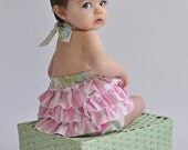 Baby Girl Romper with Ruffles in Green and Pink Floral - Roses - Newborn Pictures - Spring Easter Outfit - Handmade Baby Clothing - Adorable