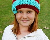 Girls Skull Cap Fitted Beanie Womens Crochet Hat Spring Beanie Striped Hat Multi-Color Winter Hat Flower Hat Rust and Aqua