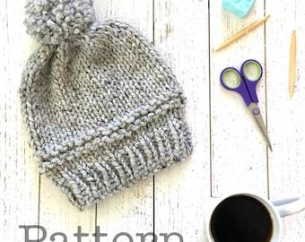 Chunky Women's Hat Pattern, Knitting pattern PDF  Pom pom knitted beanie pattern ,beginner knitting pattern, teen fashion, winter 2016