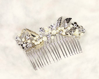 Viola Bridal Hair Comb, Wedding Hair Comb, Bridal Leaf Hair Comb, Silver Leaf Comb with Pearls, Wedding Hair Accessory, Bridal Hair Piece