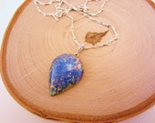 Blue opal necklace. Upcycled vintage jewelry. Silver necklace. Valentines gift, gift for women. Iridescent.
