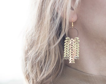 Long Boho Dangle Gold Chain Earrings Chandelier earrings summer jewelry