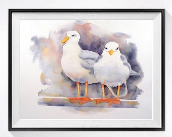Sea gull shore birds art prints, Nautical Art Print , Watercolor painting, Nature wall art decor, Nature  painting, Wildlife art print