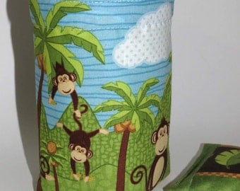 Thread Catcher Bag, Catch-all Scrap Caddy, Pin Cushion, Monkeys and Palm Trees