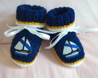 Nautical baby booties  0-12M  Sailor baby cute for photo. Baby shower gift. READY TO SHIP