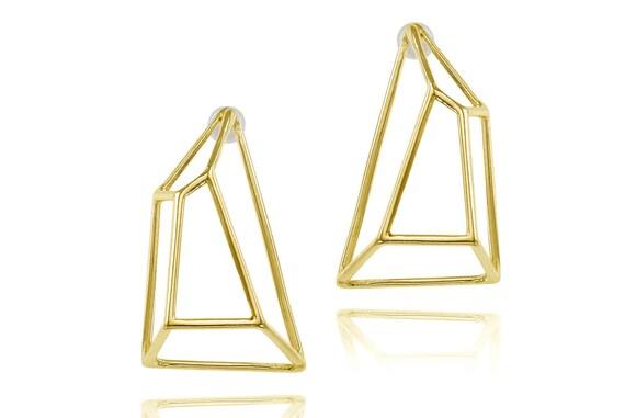 Geometric Earrings, Gifts for Her, Bridal Earrings, Geometric Jewelry, Wedding Earrings, Bridesmaid Earrings, Geometric Stud Earrings