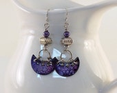 RESERVED...Purple Half Moon Enameled Earrings - Antique Silver Earrings - Silver -Artisan Earrings -Boho Earrings -Half Moon -OOAK - AE181