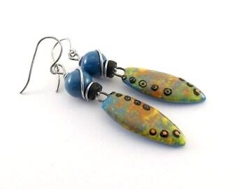 Sunset and Blue Ceramic Earrings - Ceramic Earrings - Wire Earrings - Boho Earrings - Artisan Earrings - Long Earrings -Blue Earrings -AE126