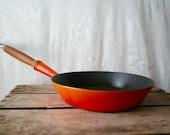 Vintage LeCreuset Le Creuset Skillet Saute Pan Frying France Wooden Handle Flame Orange 24 SALE