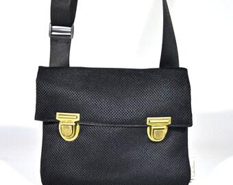 Messenger Black Vegan Bag- Bike Bag, Cross the body bag, Medium Size