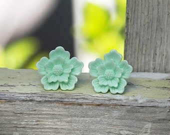 Sakura Earrings, Mint Flower Studs, Spring Boho Carved Look Blossoms - Stainless Steel or Titanium Posts