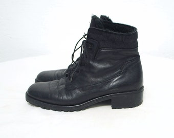 90s shearling boots. leather ankle boots. grunge boots - eur 39, us 8.5, uk 6