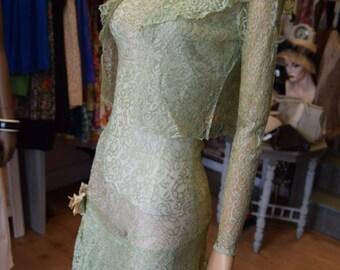 1930's Pale Green Lace Dress & matching Bolero
