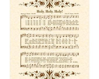 HOLY, HOLY, HOLY - Hymn Wall Art - Custom Christian Home Decor - VintageVerses Sheet Music - Inspirational Wall Art - Sepia Brown
