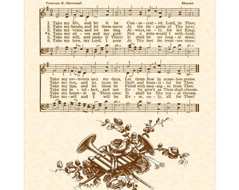 TAKE MY LIFE And Let It Be --- 8 x 10 Antique Hymn Art Print
