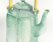 Sage green Asian influenced teapot -- original watercolour painting