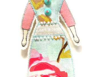 Fabric Art Doll Ornament Modern Vintage Look  Small Flat Doll Ornament Handmade Fabric Doll Decoration Embellished  Textile Art Doll