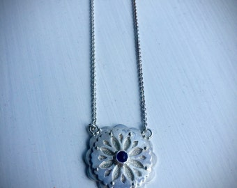 Mandala Amethyst Necklace in Sterling Silver