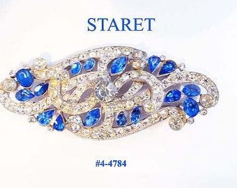 FREE SHIP Large Signed Staret Blue and Clear Brooch (4-4787)