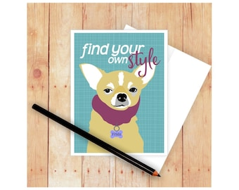 Chihuahua Card, Dog Card, Dog Greeting Card, Chihuahua Art, Chihuahua Artwork, Graduation Card, Dog Stationery, Chihuahua Lover Gift