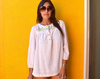 Vintage 70s Cotton Bohemian Embroidered Tunic M