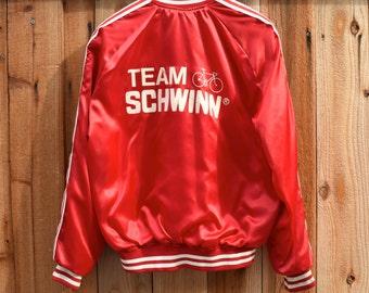 Vintage 80s Team SCHWINN Retro ATHLETIC Bomber Windbreaker Varsity Jacket L