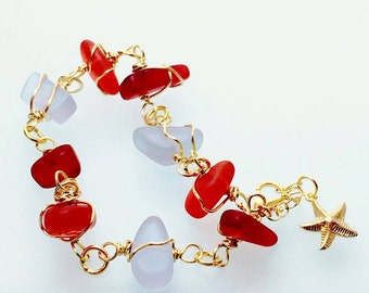Faux sea glass and gold wire wrapped bracelet with gold filled starfish charm  adjustable chain reds & lavender beach glass gifts for her