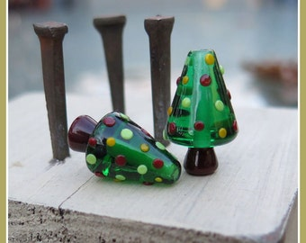 Christmas Tree Holiday Lampwork Bead