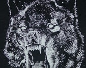 WHITE Ink WOLF Back-Patch on Jet Black Cotton Fabric, Beeswaxed cotton waterproofing, LARGE