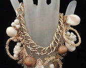 Vintage Wood Bead and Celluloid Charm Bracelet with Gold Chain / Gold Chain Charm Bracelet / Wood Beads / Celluloid Charms