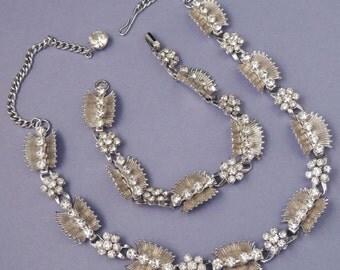 Vintage Silver Rhinestone Necklace Set / Rhinestone Necklace and Bracelets Set / Floral Necklace and Bracelet Set / Rhinestone Necklace Set