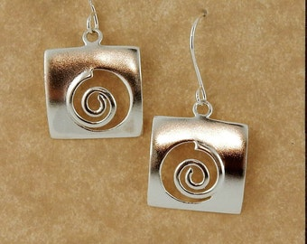 Brushed sterling silver Celtic Spiral earrings