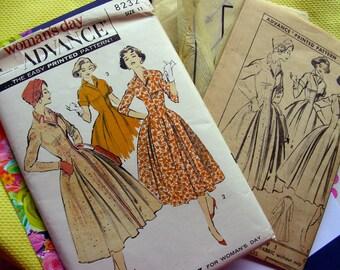 UNCUT * 1950's Advance  Pattern 8232  - Junior Misses'  Designer Coat Dress by LUIS ESTEVEZ  - Size 11 * bust 31.5