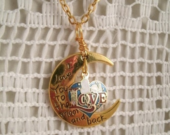 Snoopy on LOVE Heart  Vintage Aviva Charm  Love you to the Moon and Back New charm with Vintage Aviva Snoopy