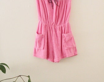 80's Pink Terrycloth Strapless Romper
