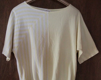 80's White and Yellow Striped Top
