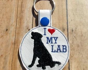 I Love My Lab, Black Labrador Keychain, Blue