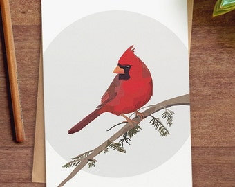 Northern Cardinal greeting card, blank bird card, A7 5x7