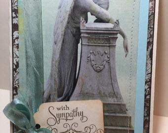 Sympathy Card..Green and Brown Fallen Angel Card ...Sympathy