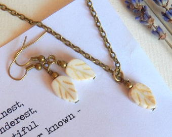 Vintage Style Leaf Necklace Set, Earrings and Necklace, Matching Set, White Leaves, Antique Brass Chain, Handmade Jewelry by HoneyNest