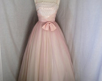 CLOSING SALE 1960s Emma Domb pale pink party dress. Size 0-2. Nylon chiffon over tulle. Wedding, party. 4 skirt layers. Petticoat included.