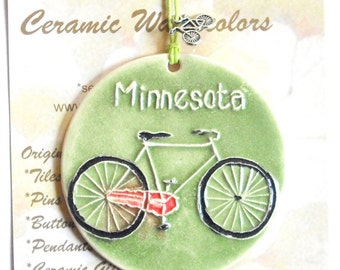Textured Ceramic-Watercolor Minnesota Bike Ornament with bicycle charm comes gift wrapped