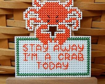 I'm a Crab Handstitched Magnet - Handmade Cross Stitch Magnet - Free U.S. Shipping