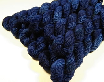 Mini Skeins - Hand Dyed Yarn - Sock Weight 4 Ply Superwash Merino Wool Yarn - Ink Tonal - Knitting Yarn, Sock Yarn, Blue Navy, Knitter Gift
