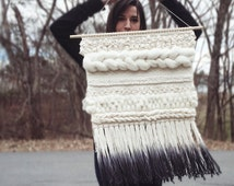 Woven Wall Hanging | Ivory and Gray Weaving