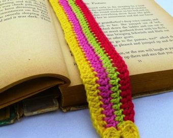 Crochet Bookmark with a little crochet heart-Bright colours